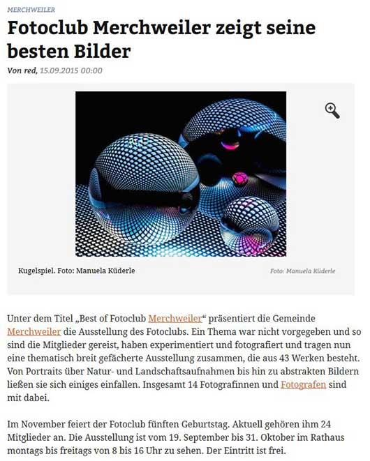 Bericht in der Saarbrücker Zeitung 15.09.2015
